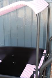 Combi-deal kussens 3 cm + zonneluifel roze/ wit motief Troy/ Supreme