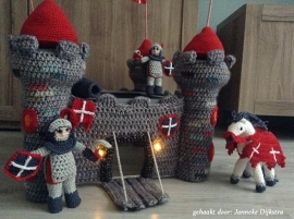 3 Crochet patterns:  Castle, Knight and  Knight on horseback