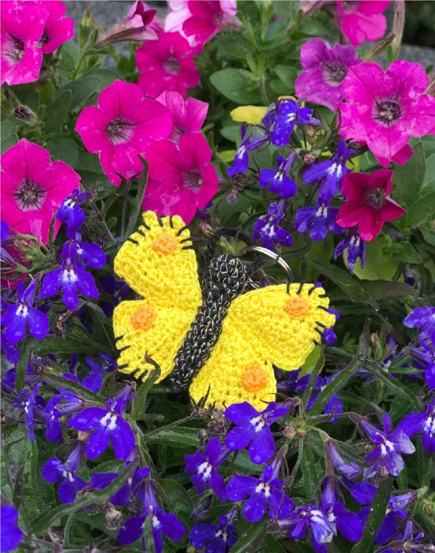Sleutelhanger Citroen vlinder haakpatroon