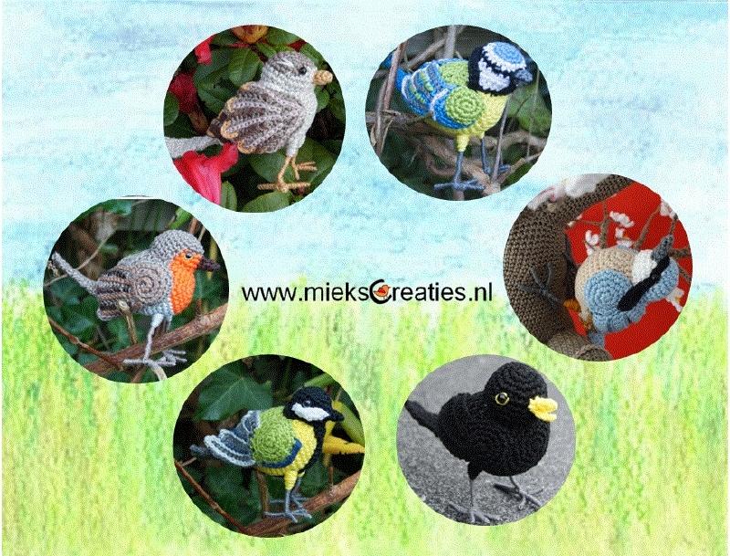 Sechs Häkelanleitungen der Vögel