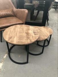 Nieuw: Set van 3 salontafels hout metaal