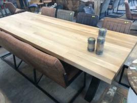 Grote eiken houten eettafel, industrieel