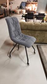 Stoel velvet grey met of zonder wiel