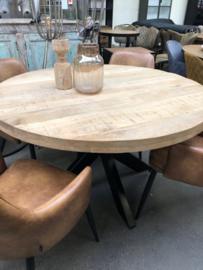 Nieuw: Ronde eettafel 130 cm diameter hout metaal