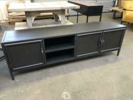 Nieuw: TV meubel industrieel zwart staal/metaal