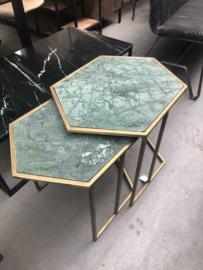 Set salontafels groen marmer