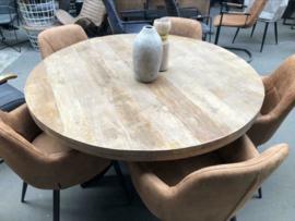 Nieuw: Ronde eettafel stoer industrieel 130 cm