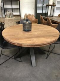Ronde eettafel - Robuust hout metaal