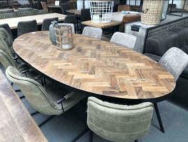 Nieuw: Eettafel visgraat hout 240 cm