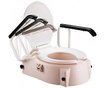 Toiletverhoger kunststof met zitting, deksel en verstelbare armleuningen