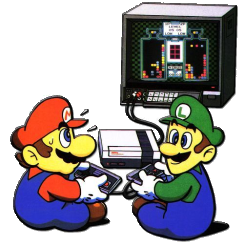 mario & Luigi play on Nintendo NES system