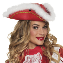 Dansmarieke hoed rood wit