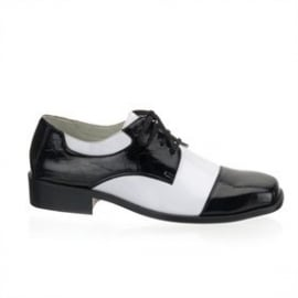 Heren schoenen zwat/ wit gangster