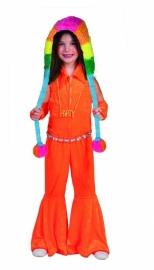 Jumpsuit kids neon oranje disco