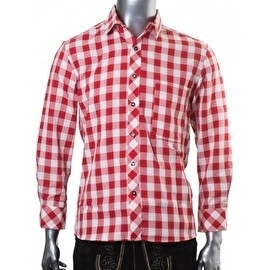 Tiroler blouse geblokt rood