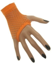 Net handschoenen kort oranje