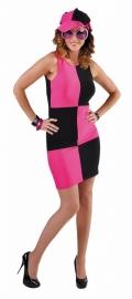 Blok jurkje zwart/roze 60's