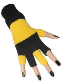 Vingerloze handschoen zwart geel