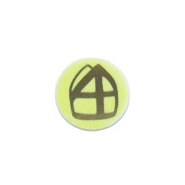 Button met mijter geel