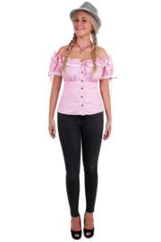 Tiroler blouse dames roze wit