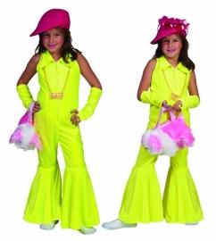 Jumpsuit kids neon geel disco