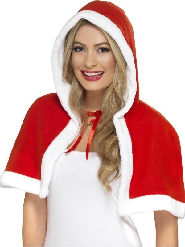 Kerstcape rood/wit