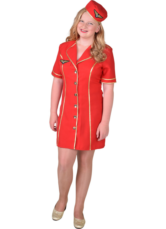 Stewardess jurkje rood meisje
