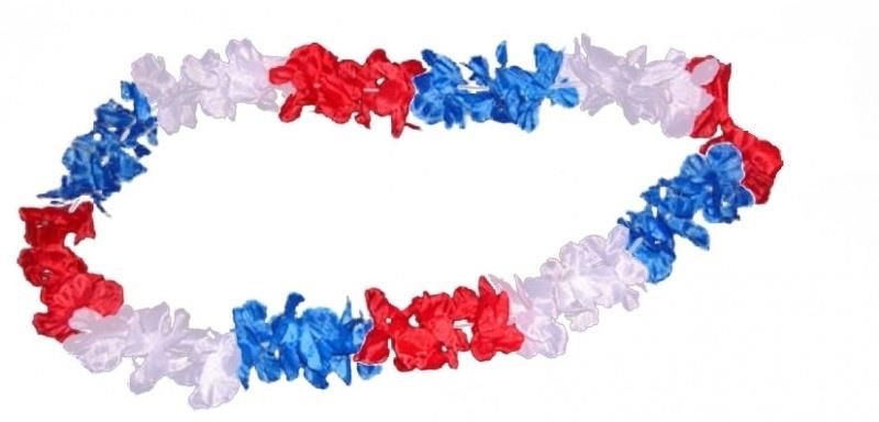 Hawai bloemenkrans rood, wit, blauw