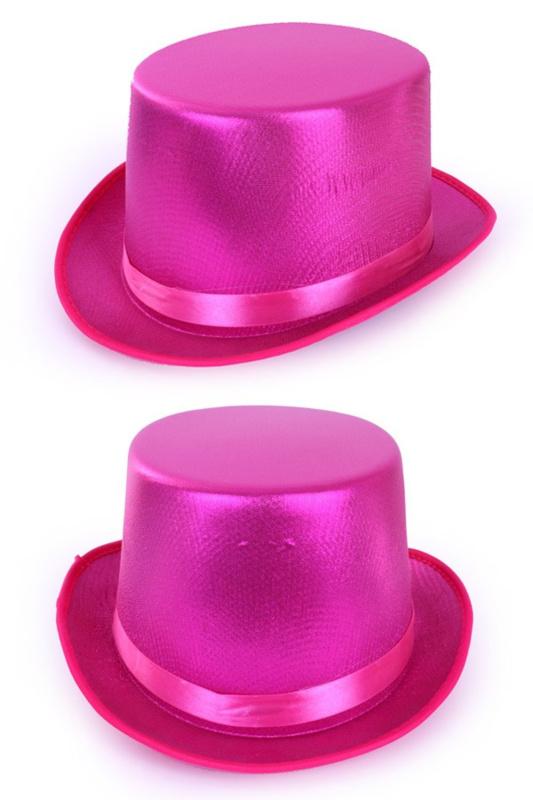 Hoge hoed metallic pink