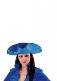 Blauwe markiezin hoed