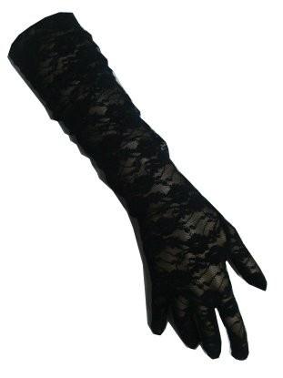 Zwarte handschoenen kant lang