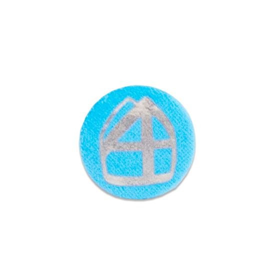 Button met mijter blauw