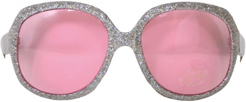 Grote bril zilveren glitter roze