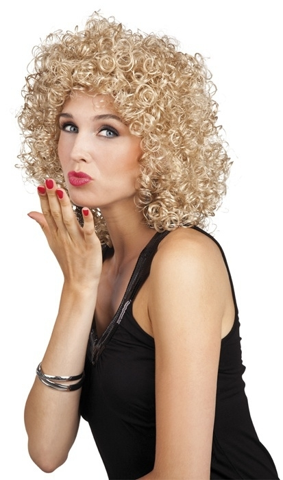Pruik krullend halflang blond