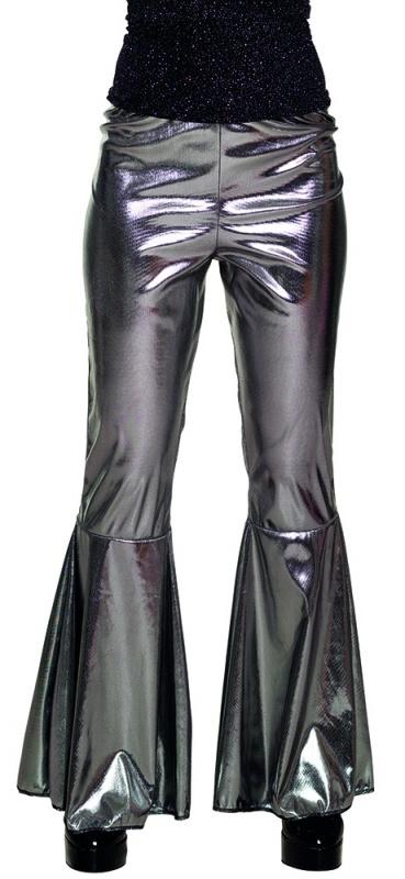 Disco broek wijde pijpen zilver