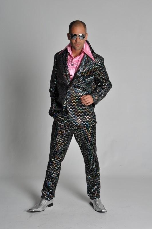 Disco kostuum glitter - pailletten zwart