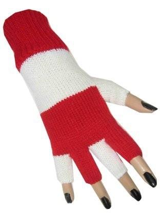Vingerloze handschoen rood-wit