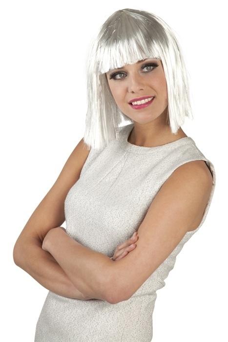 Pruik glamour wit met een glitter