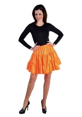 Volangen rok kort fluor oranje