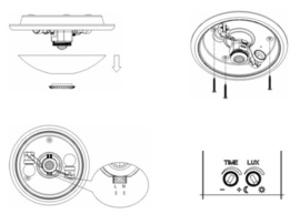 Plafonniere E27 met bewegingssensor - Type 1
