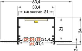 LED Trimless Stuc profiel 2134
