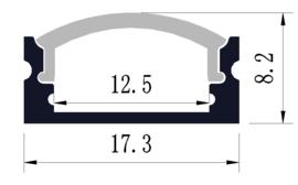 3mtr LED profiel 1708 incl afdekking (2x 1.5mtr)