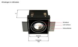 LED Square Trimless inbouwspot 1-Lichts (gratis driver) - Zwart
