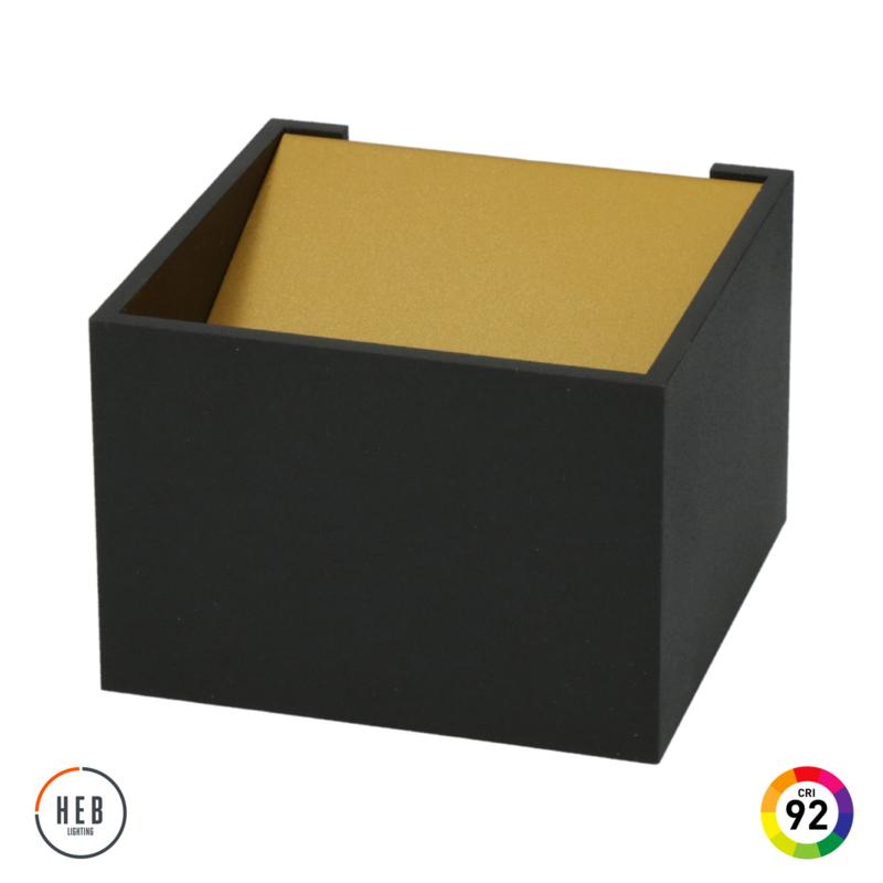 Wandlamp Square 70 - black & gold