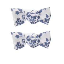 Haarclip blauw wit bloemen