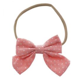 Haarband strik polka roze