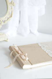 Fotoalbum linnen/kant wit handgemaakt