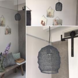 Hanglamp Ø18x20 cm gaas grijs