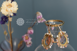 OORBELLEN Crystal beads hoop roze
