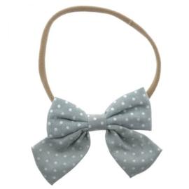 Haarband strik polka grijs